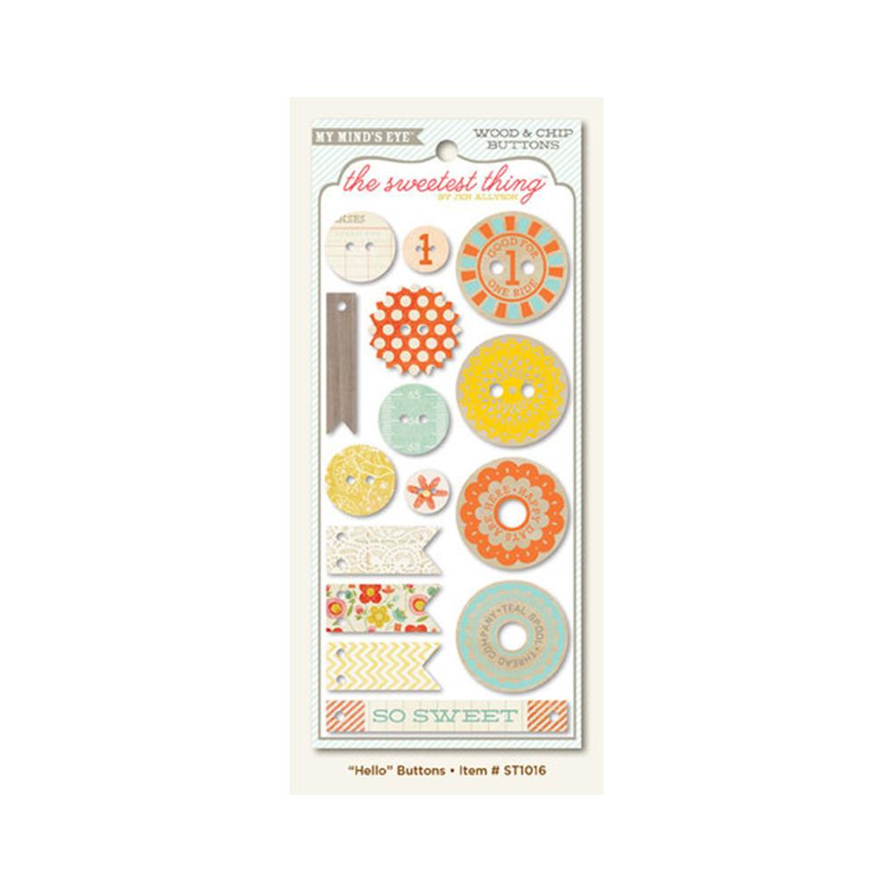 My Minds Eye - The Sweetest Thing Collection - Tangerine - Decorative Buttons - Hello