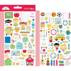 Dooblebug Mini Cardstock Stickers 2 pack - School Days - Icons
