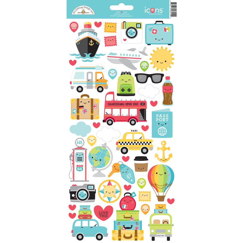 Doodlebug Cardstock Stickers 6 inch X13 inch I Heart Travel Icons