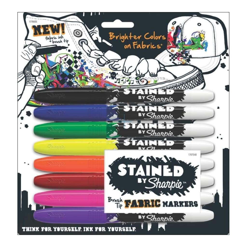 Stained By Sharpie Fabric Markers 8 pack Assorted Colours