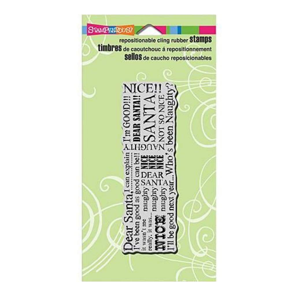 Stampendous Fran's Cling Stamp 6.5 Inch X4.5 Inch - Santa Words