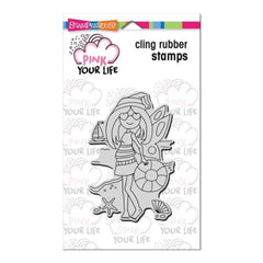 Stampendous Pink Your Life Cling Stamp 6.5X4.5 Whispers Friends - Beach Girl