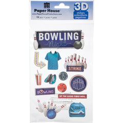 Paper House 3D Stickers - Bowling Night