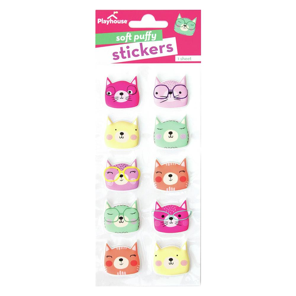 Paper House Soft Puffy Stickers - Cat Face