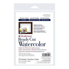 Strathmore Ready Cut Watercolour Paper Pack - 300 Gsm Cold Press 5X7 Inch (25 Sheets)