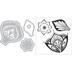 Sizzix Framelits Die & Stamp Set By David Tutera 6/Pkg - Mandala Flower