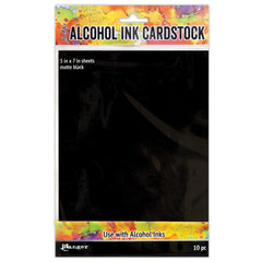 Tim Holtz Alcohol Ink Cardstock 5 inch X7 inch 10 pack - Black Matte