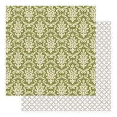 "Teresa Collins - Fabrications Canvas Double-Sided Cardstock 12""X12"" - Green Brocade"