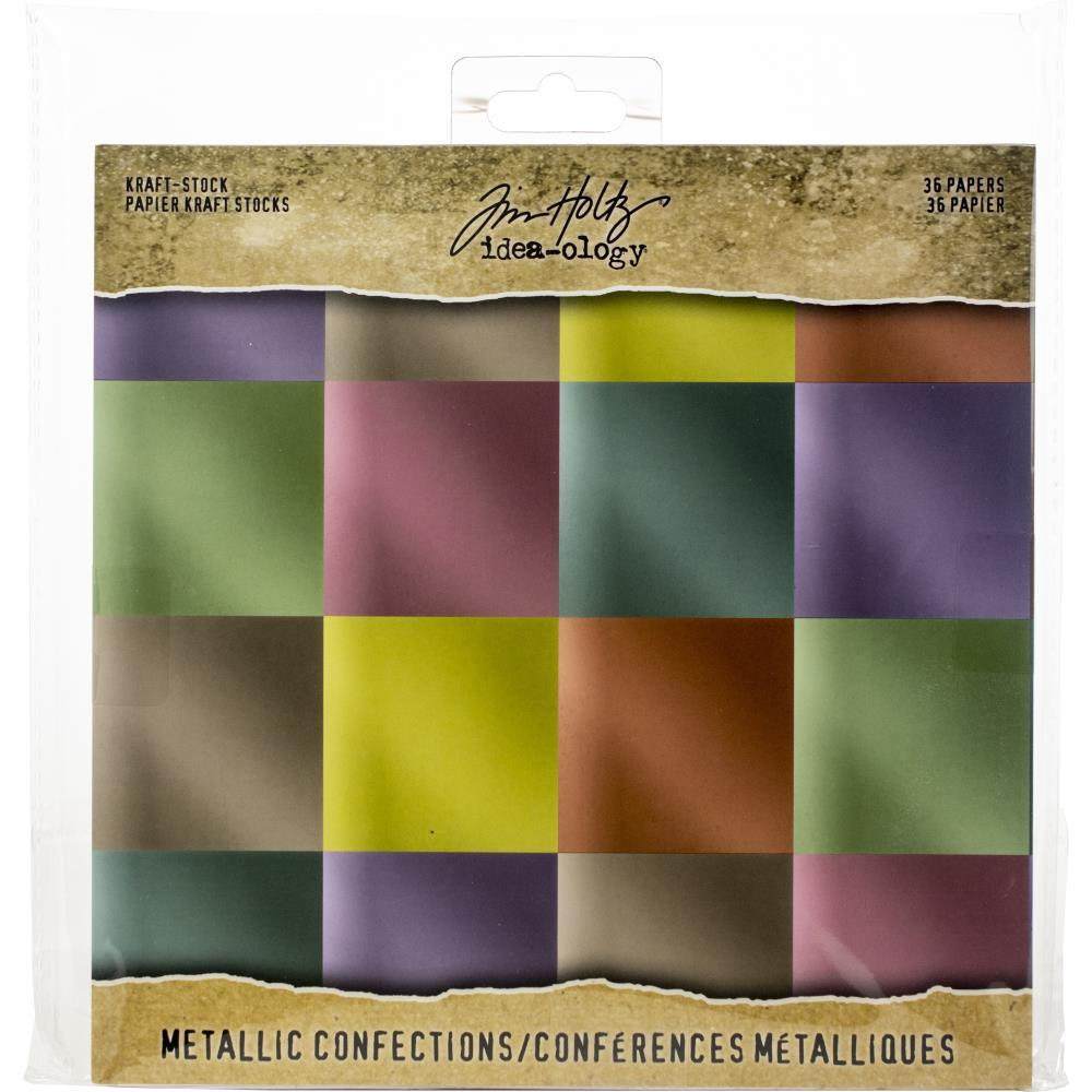 Idea-Ology Paper Stash Kraft Metallic Paper Pad 8inch X8inch 36 pack Confections