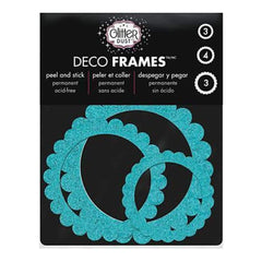 Thermoweb - Glitter Dust Frame Assortment 10 Pack - Scallop Circle Teal