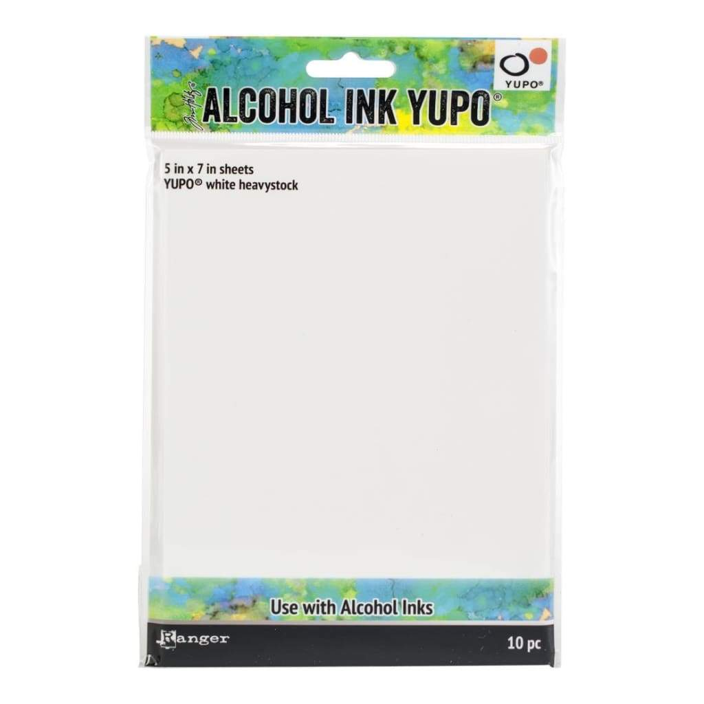Tim Holtz Alcohol Ink White Yupo Paper 144lb 10 pack 5 inch X7 inch