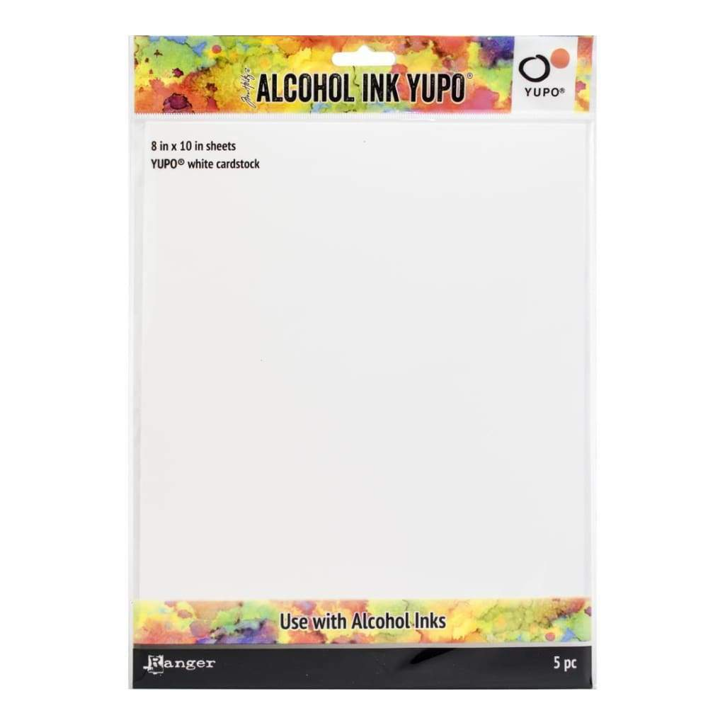 Tim Holtz Alcohol Ink White Yupo Paper 86lb 5 pack 8x10 inch