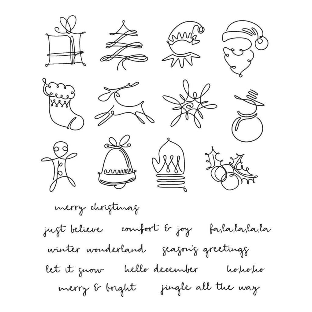 Tim Holtz Cling Stamps 7inch X8.5inch - December Doodles