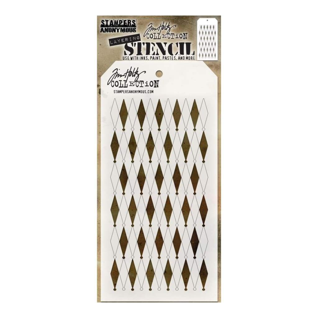 Tim Holtz Layered Stencil 4.125inch X8.5inch Shifter Diamonds