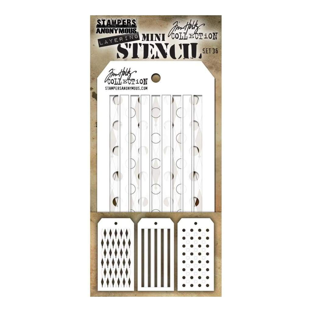 Thatched Design Layering Stencil  Stampers Anonymous Tim Holtz Collection THS104
