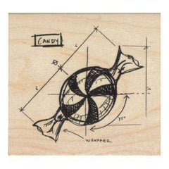 Tim Holtz Red Rubber Stamp - Candy Sketch