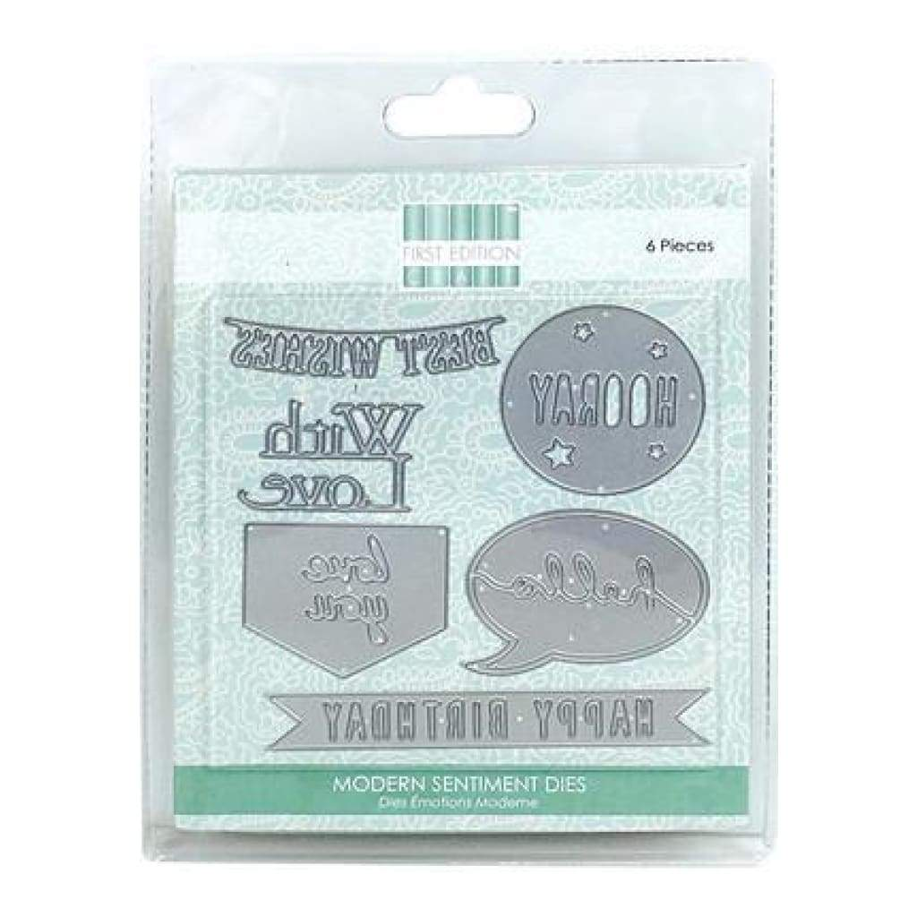 Trimcraft - First Edition Dies 6 Pack  Modern Sentiments Birthday