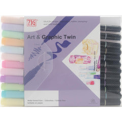 ZIG Art & Graphic Twin Tip Markers 12 pack - Pastel