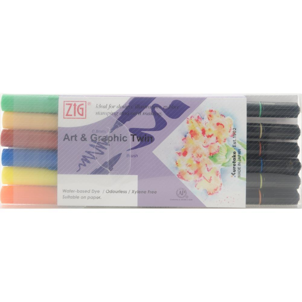 ZIG Art & Graphic Twin Tip Markers 6 pack Vivid