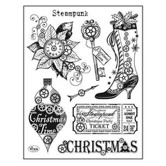 Viva Decor Clear Stamp Set 14cmX18cm - Steampunk Christmas