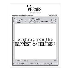 Verses Rubber Stamp Co. - Happiest Holidays Ornament Cling Mounted Rubber Stamp
