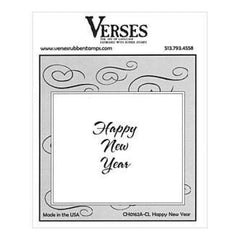 Verses Rubber Stamp Co. - Happy New Year Cling Mounted Rubber Stamp