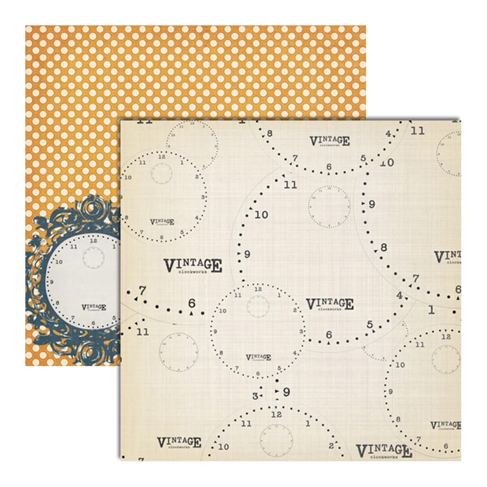 "Teresa Collins - Vintage Finds Double-Sided Cardstock 12""X12"" Clocks"