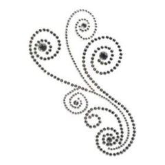 Want2Scrap Self-Adhesive Maxxi Girl Swirls Bling Silver Rhinestones