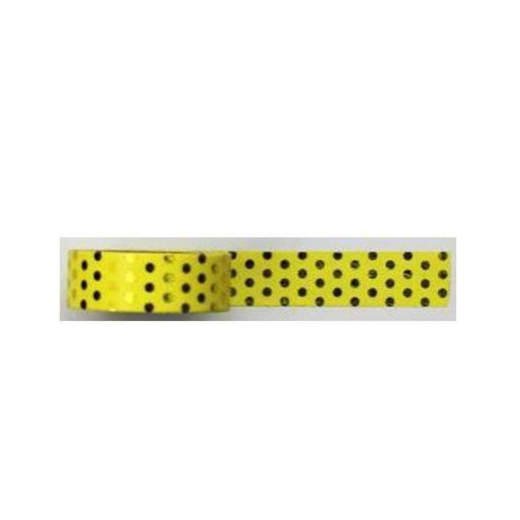 Washi Tape - Yellow background with Gold Foil Dot Design - Size 15mm x 10m