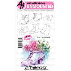 Art Impressions - Watercolour Cling Rubber Stamps - WC Shoe