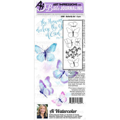Art Impressions - Bible Journaling Watercolour Rubber Stamps 4x8 inch pack - Butterfly