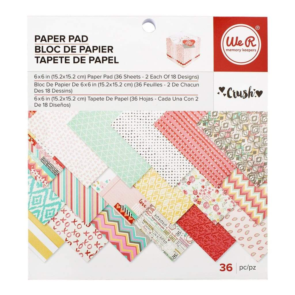 We R Memory Keepers Paper Pad Single-Sided 6X6 inch 36 pack Crush, 18 Designs 2 Each