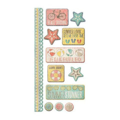We R Memory Keepers - Down the Boardwalk Collection - Embossed Cardstock Sticker