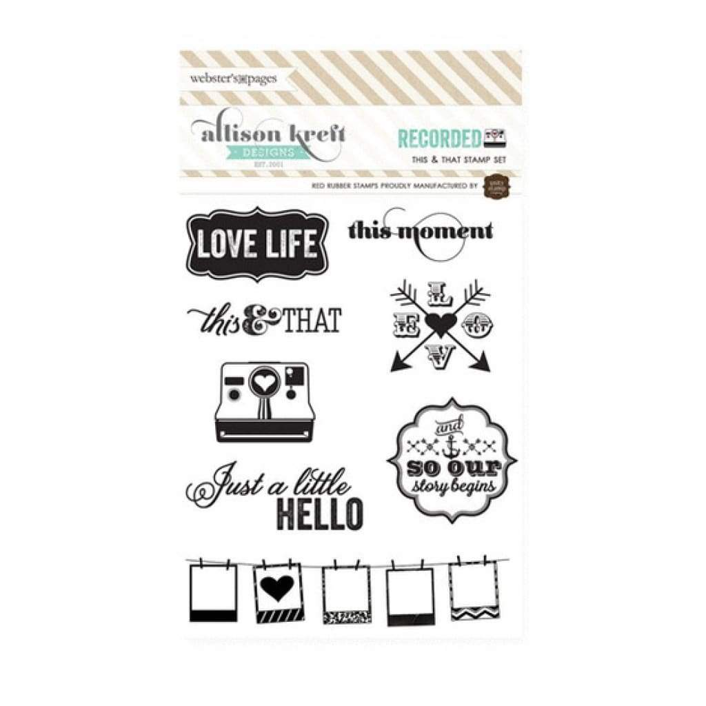 Websters Pages - Recorded Collection - Cling Mounted Rubber Stamp Set - This and That