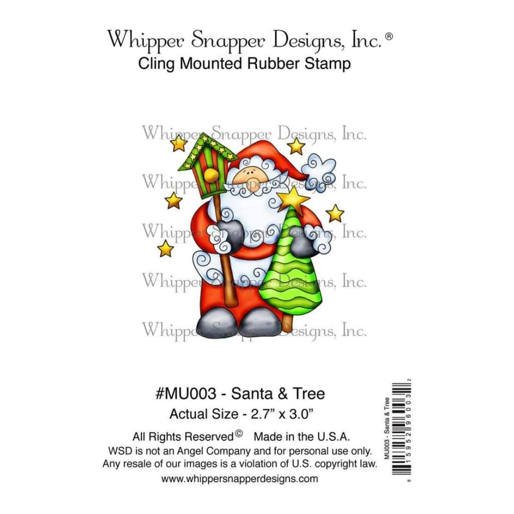 Whipper Snapper Cling Stamp 4 inch X6 inch Santa & Tree