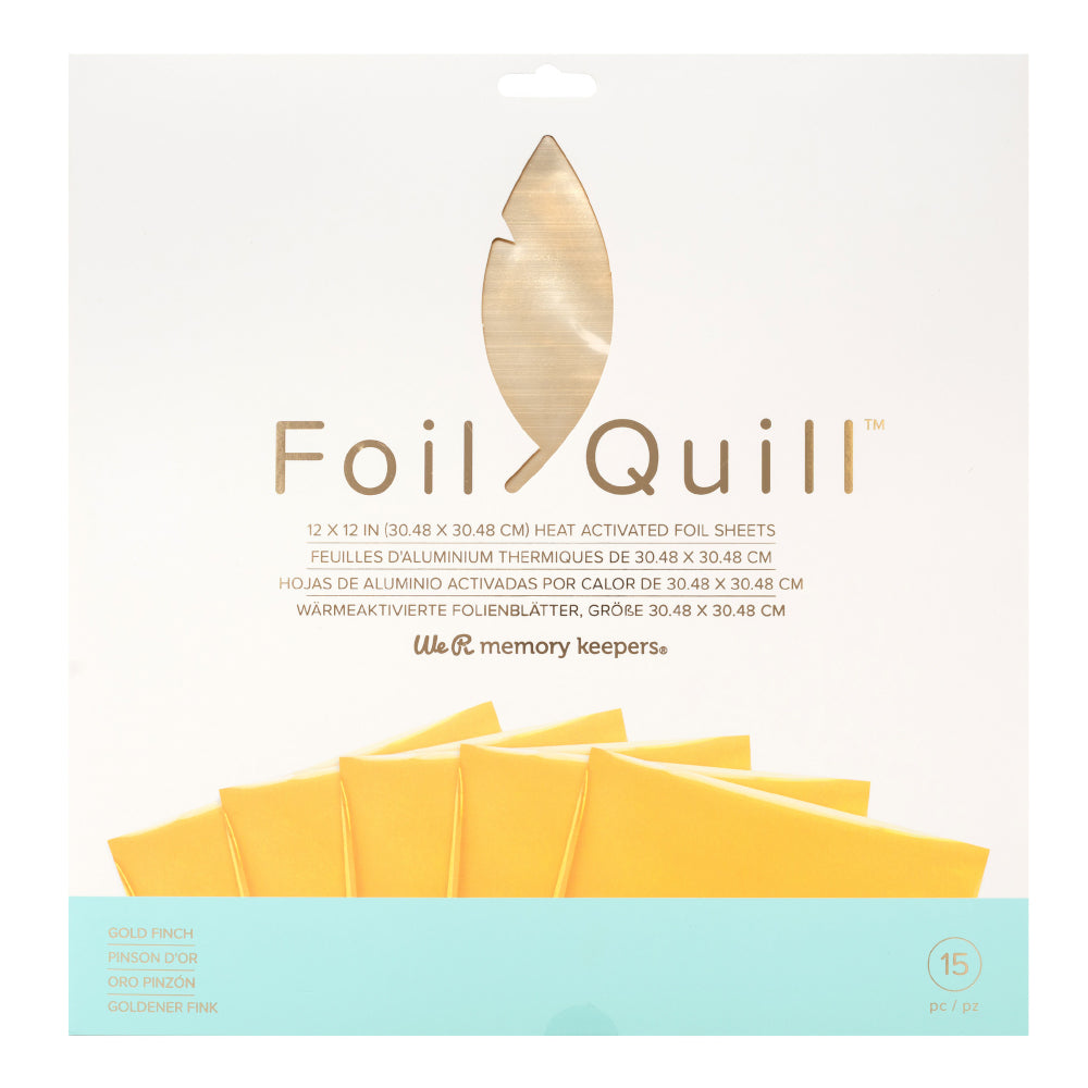 We R Memory Keepers - Foil Quill 12inX12in Foil Sheets 15 per package - Gold Finch