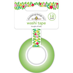 Doodlebug - Washi Tape 15mmX12yd - Boughs Of Holly, Christmas Magic