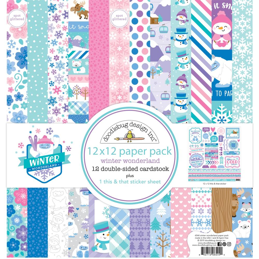 Doodlebug Double-Sided Paper Pack 12in x 12in 12 pack - Winter Wonderland