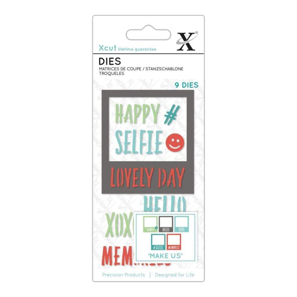 Xcut Decorative Dies 9 pack Selfie Frame & Sentiments