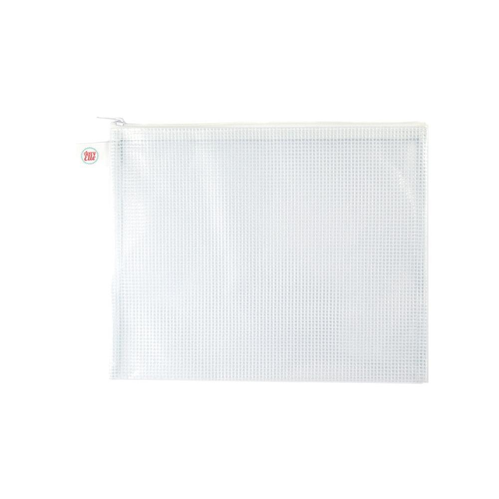 Avery Elle Zippered Vinyl Mesh Pouch White-Large