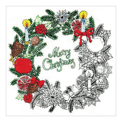 Zenbroidery Stamped Embroidery 10 inch X10 inch Christmas Wreath