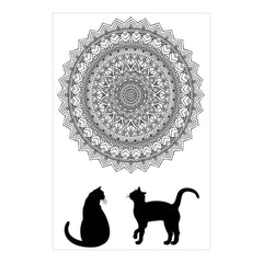 Zenbroidery Stamped Embroidery 10 inch X16 inch Cat Mandala