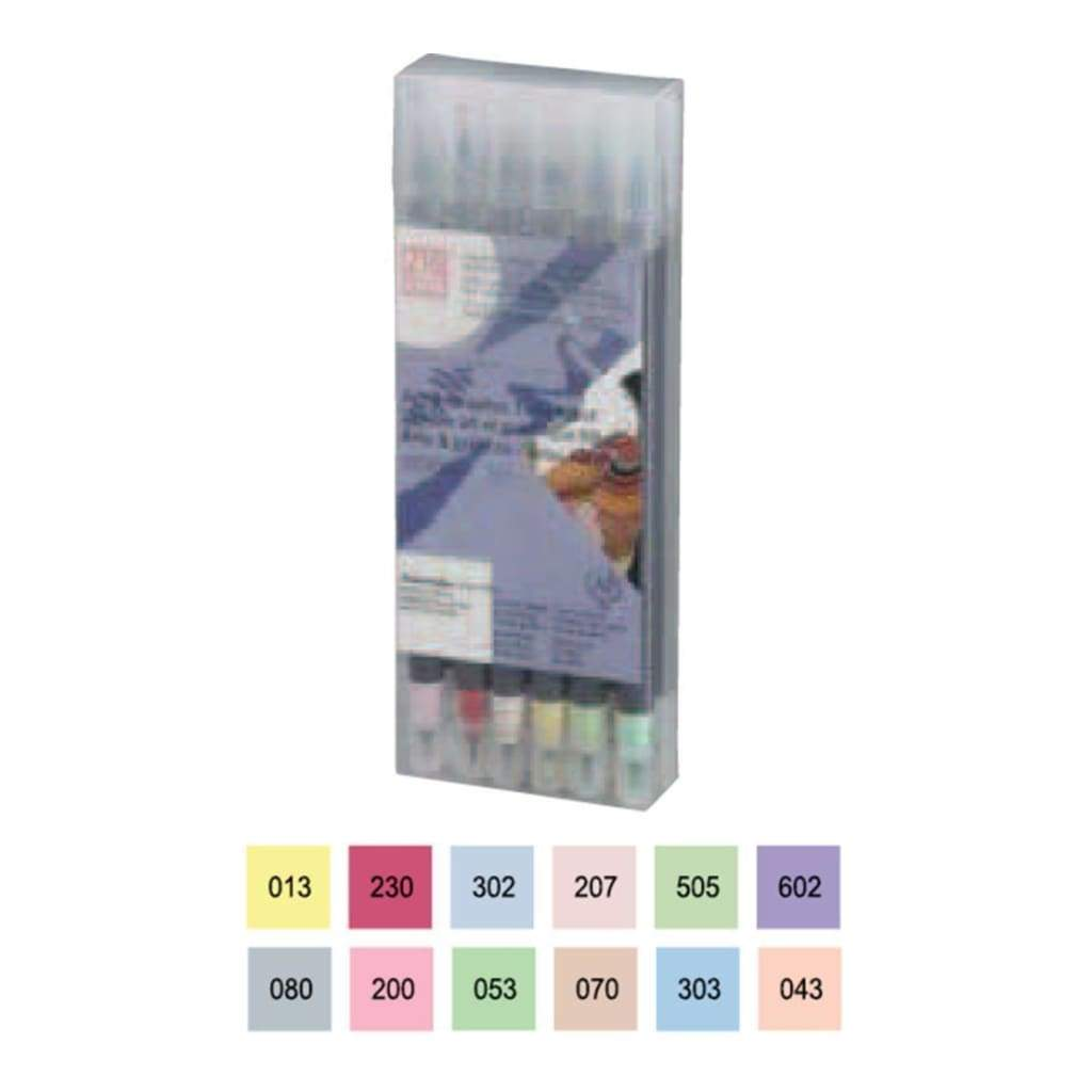 Zig Art & Graphic Twin RB+F 12 pack - Pale Colours