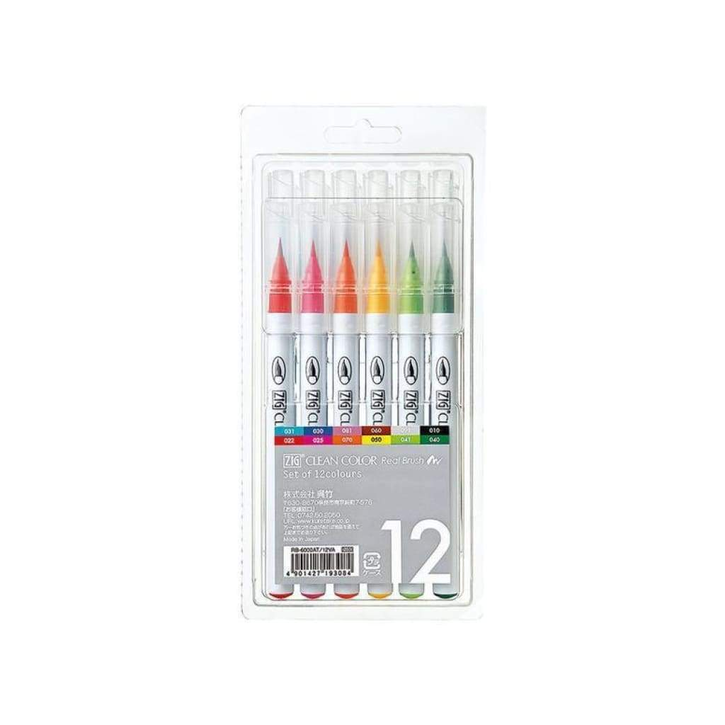 Zig Clean Colour Real Brush Markers - Set 12
