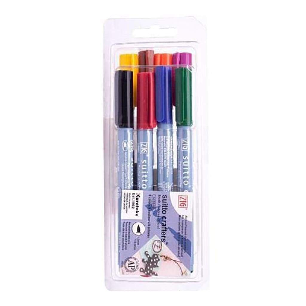 Zig Suitto Crafters Brush Marker Set 8 pack - Permanent waterproof markers for many surfaces such as paper glass wood plastic and metal. 8 colours
