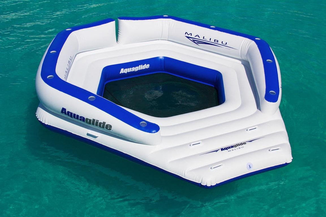 Malibu Lounger: XL Party Lounge Platform w/11 Cup Holders & Back Rest - Aquaglide - Air Kayaks Direct