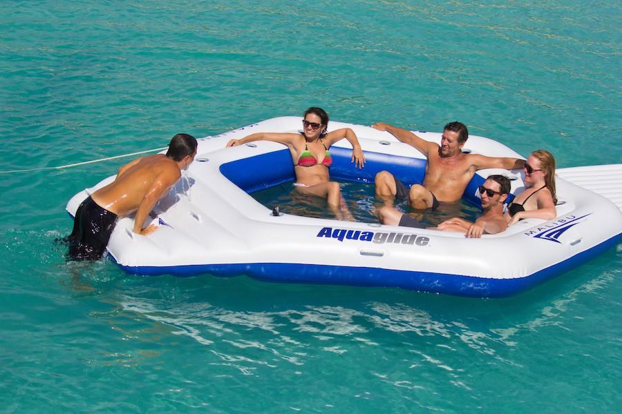 Malibu Island: XL PVC Party Lounge Platform w/11 Cup Holders - Aquaglide - Air Kayaks Direct