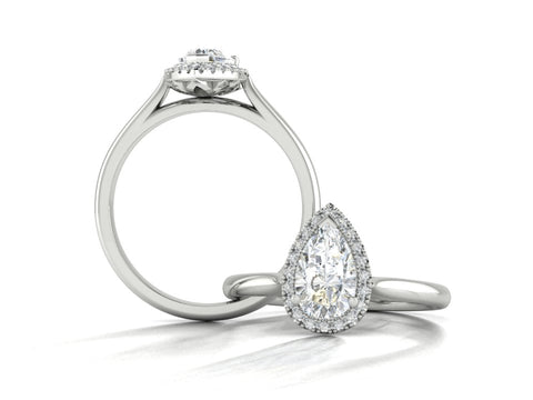 1ct Pear Shape Diamond and Fine Halo Engagement Ring, Custom Order by Sophie Forbes Jewellery