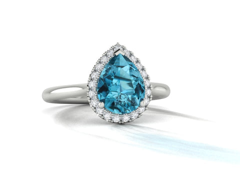 Topaz and Diamond Halo Ring