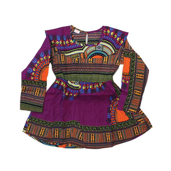 Children's Trad Print Dress: Purple